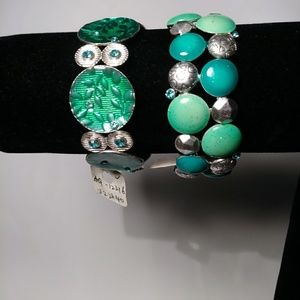 A lot of 2 Stretch Bracelets with Green stones